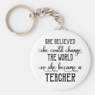 Llavero Ella creyó que ella podría cambiar al profesor del