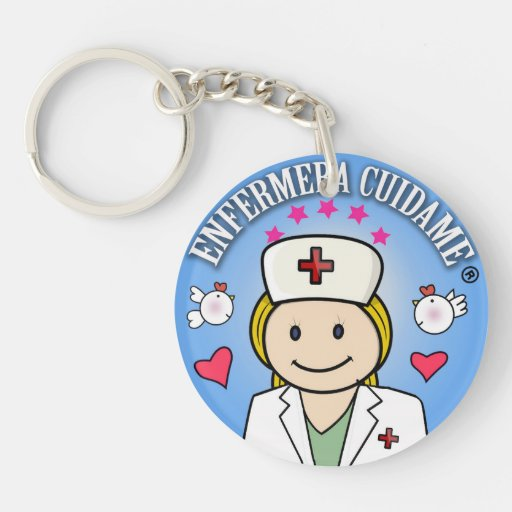 Llavero Enfermera Cuidame Plis Rubia Azul