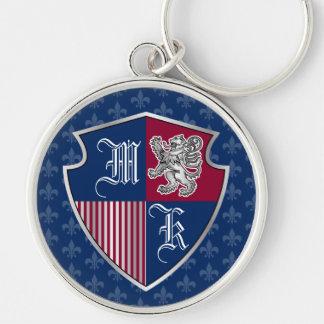 Llavero Escudo de plata del emblema del monograma del