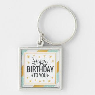 Llavero Feliz cumpleaños rayas de menta del oro estrellado