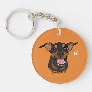 Llavero feliz del perro del Pin del minuto