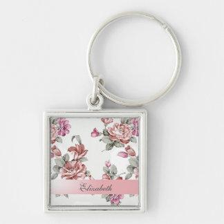 Llavero Femenino elegante del vintage Flor-Personalizado