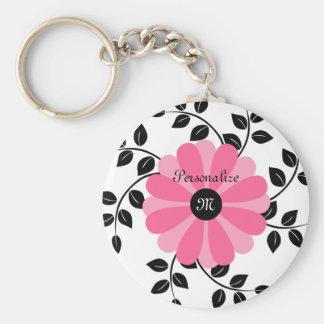 Llavero Flor rosada y negra con monograma de moda con nomb