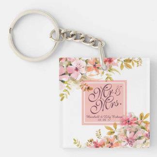 Llavero floral personalizado del boda de la