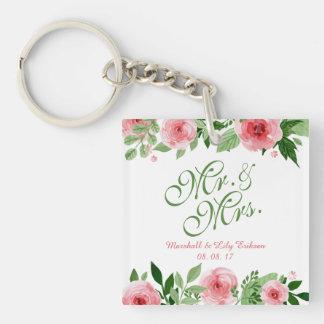 Llavero floral personalizado precioso del boda