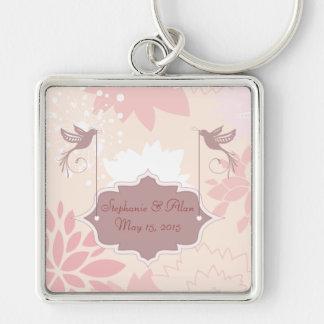 Llavero floral rosado del boda