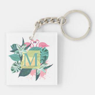 Llavero floral tropical del monograma del boda