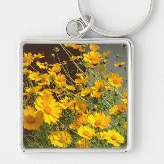Llavero Flores amarillas felices brillantes en un manojo