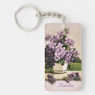Llavero Flores de la púrpura del Victorian del vintage