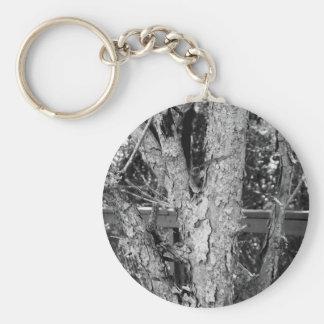 Llavero Foto blanco y negro de la naturaleza del árbol
