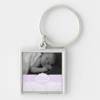 Llavero Foto rosada del bebé del cordón de Swirly