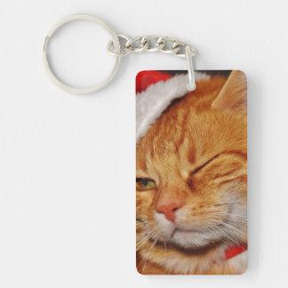 Llavero Gato anaranjado - gato de Papá Noel - Felices