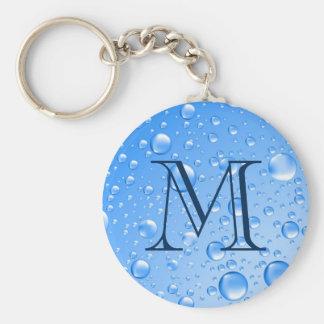 Llavero Gotas de lluvia metálicas cones monograma del azul
