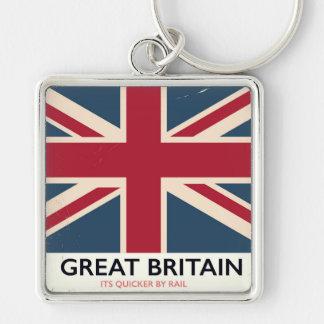 """Llavero Gran Bretaña """"su más rápido por poster del vintage"""