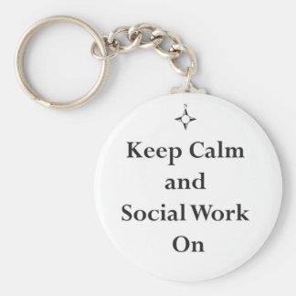 Llavero Guarde el trabajo tranquilo y social encendido