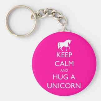 Llavero Guarde la calma y abrace un unicornio