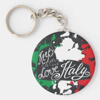 Llavero Guarde la calma y ame Italia