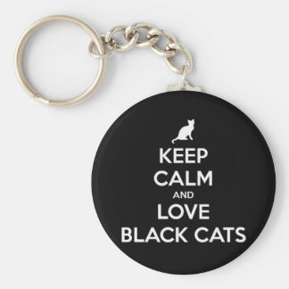 Llavero Guarde la calma y ame los gatos negros