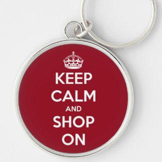 Llavero Guarde la calma y haga compras en rojo y blanco