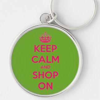 Llavero Guarde la calma y haga compras en rosa en verde