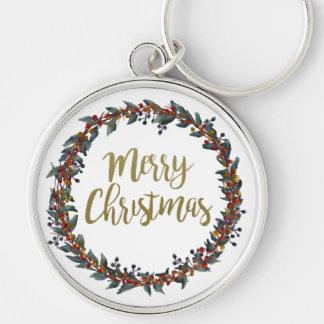 Llavero Guirnalda de la acuarela - Felices Navidad - ramas