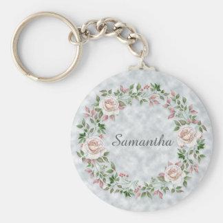 Llavero Guirnalda y hojas florales rosadas del rosa en