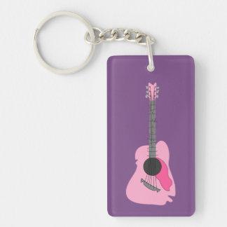 Llavero Guitarra acústica abstracta torcida rosa