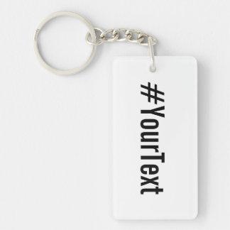 Llavero Hashtag de encargo (inserte su texto)