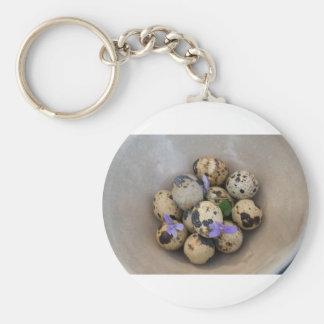Llavero Huevos de codornices y flores 7533