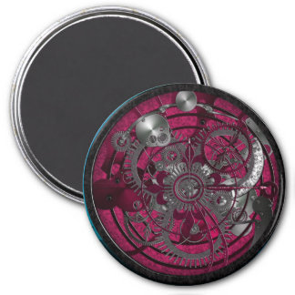 Llavero imperial del reloj - Borgoña real Imán Redondo 7 Cm