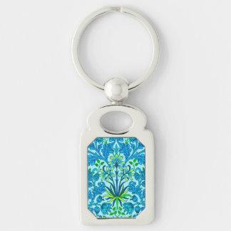 Llavero Impresión del jacinto de William Morris, azul