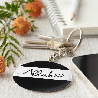 Llavero islámico del llavero de Alá en blanco y