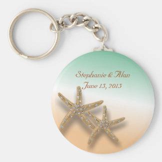 Llavero Jeweled del boda de las estrellas de mar