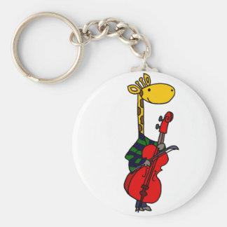 Llavero Jirafa divertida que juega arte del violoncelo