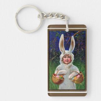 Llavero Juego blanco Pascua del conejito del vintage