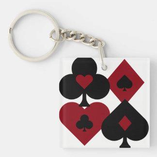 Llavero Juegos rojos y negros de la baraja del póker