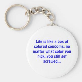 Llavero La vida es como una caja de condones coloreados -