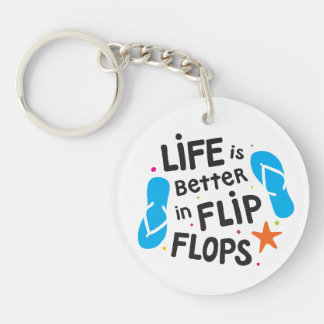Llavero La vida es mejor en flips-flopes