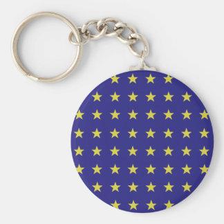 Llavero Las estrellas del oro en la UE azul del fondo