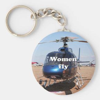 Llavero Las mujeres vuelan: helicóptero azul
