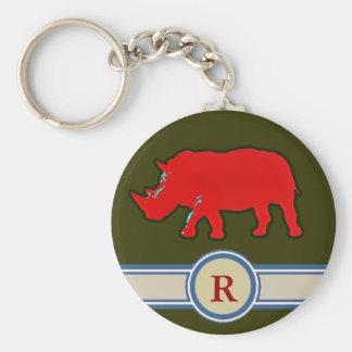 Llavero letra conocida del rinoceronte R