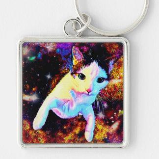 Llavero lindo colorido del disco del gatito de la