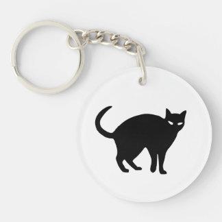 Llavero lindo de Halloween del gato negro