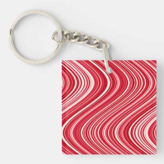 Llavero Líneas onduladas en rojo y blanco