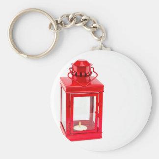 Llavero Linterna roja con el tealight ardiente en blanco