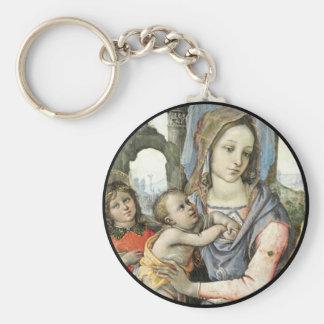 Llavero Madonna y niño con San José y un ángel