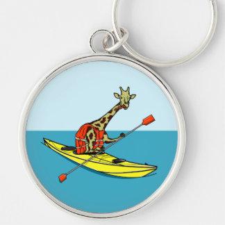 Llavero Mar de la jirafa del dibujo animado kayaking
