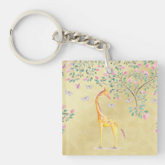 Llavero Mariposas y flor de la jirafa de la acuarela