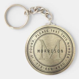 Llavero Mensaje - monograma en efecto metalizado de oro