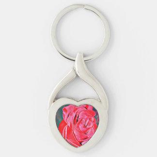 Llavero metalizado del corazón del rosa rojo